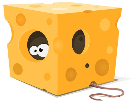 Illustration of funny cartoon mouse character's eyes eating from inside a piece of cheese with tail visible outside