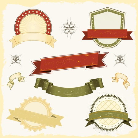Foto de Illustration of a collection of design grunge vintage banners, labels, seal stamper and shields awards. All elements are on separated layers so you can easily select and edit - Imagen libre de derechos