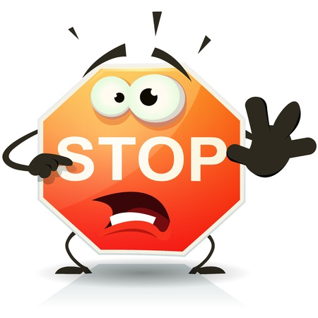 Ilustración de Illustration of a funny cartoon stop traffic sign character doing danger and warning gesture - Imagen libre de derechos