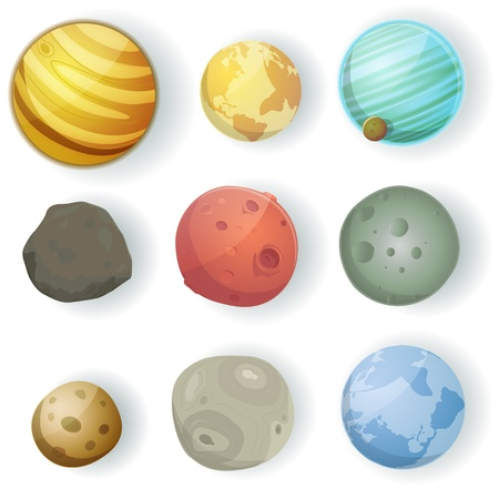 Illustration of a set of various planets, moons, asteroid and earth globes isolated on white for scifi backgrounds