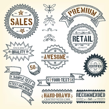 Illustration of a set of doodles hand drawn design vintage banners, labels, seal stamper, ribbons and awards