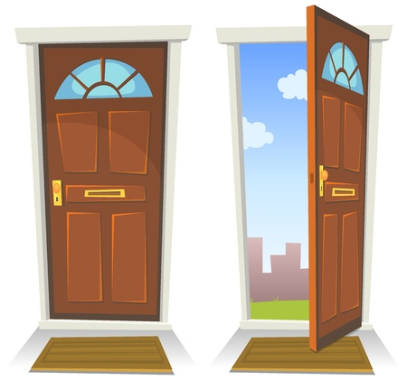 Illustration of a cartoon front red door opened on a spring urban backyard and closed, symbolizing private and public frontier, paradise or heaven's gate, with mat to wipe foot