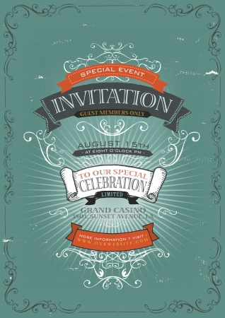 Illustration of a vintage invitation placard poster background for holidays and special events, with sketched banners, floral patterns, ribbons, text, design elements and grunge texture