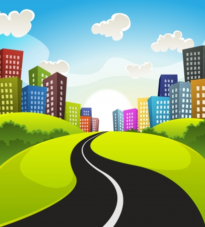 Illustration of a cartoon road driving from fields and meadows landscape to downtown in spring or summer season