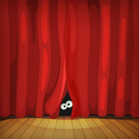 Illustration of funny cartoon human, creature or animal character's eyes hiding and looking from behind red curtains in theater wooden stage