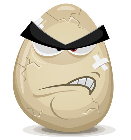 Illustration of a cartoon angry egg character with cracks, fissure and bandage