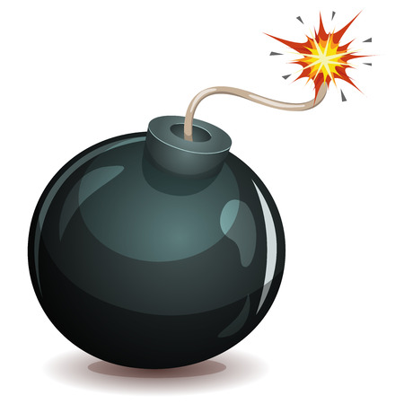 Illustration of a cartoon black bomb icon about to explode with burning wick, isolated on white