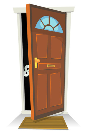 Illustration pour Illustration of a cartoon human character or creature hiding behind red door opened - image libre de droit