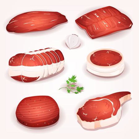 Illustration of a set of cartoon pieces of raw beef meat, with steak, roast and slices