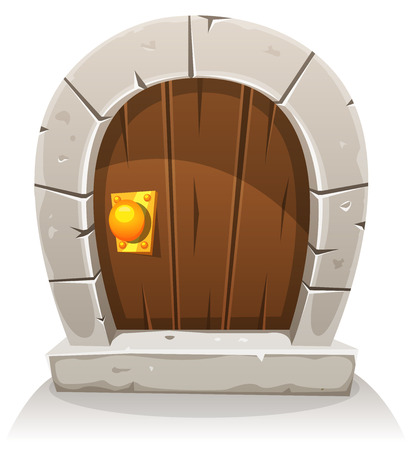 Illustration of a cartoon comic hobbit like funny little curved wood door with stone doorframe