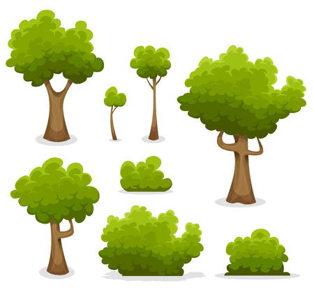 Illustration of a set of cartoon spring or summer forest trees and other green forest elements, foliage, bush, hedges