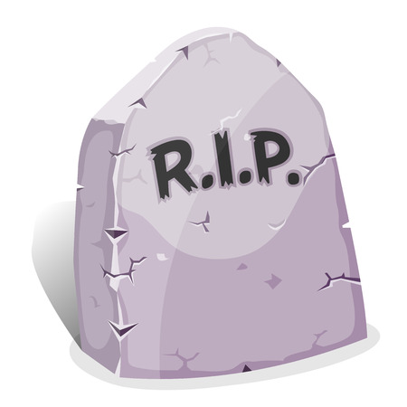 Illustration of a funny cartoon halloween tombstone for graveyard landscape with rest in peace inscription