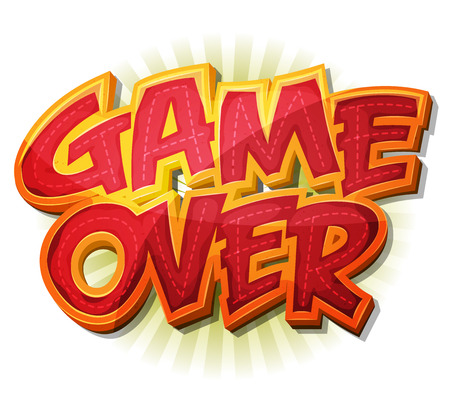 Illustration of a cartoon design game over icon for game user interface