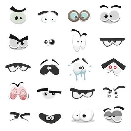 Illustration of a set of funny cartoon human, animals, pets or creature's eyes with various expressions and emotions, from fear to joy, happiness, sadness, surprise, boring and angry