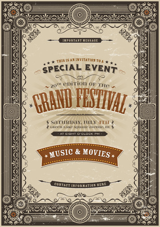 Illustration of a vintage festival poster background with various elegant floral patterns, frames, banners, grunge texture and retro design