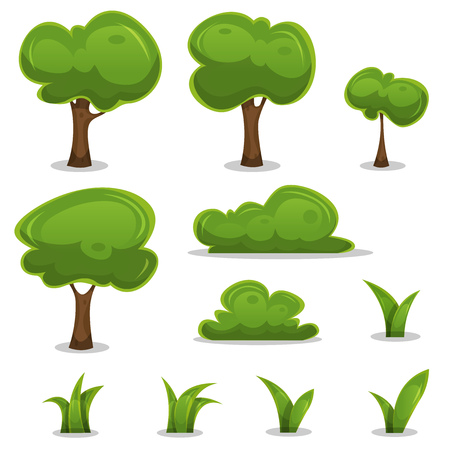 Illustration pour Illustration of a set of cartoon spring or summer little trees and green icons, with bush, hedges and blades of grass for ui game - image libre de droit