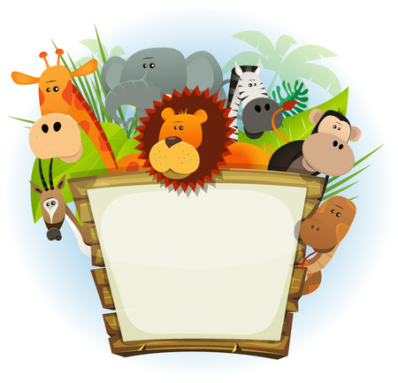 Illustration of a cute cartoon wild animals family from african savannah, including lion, elephant, giraffe, monkey, snake, gazelle and zebra with jungle background