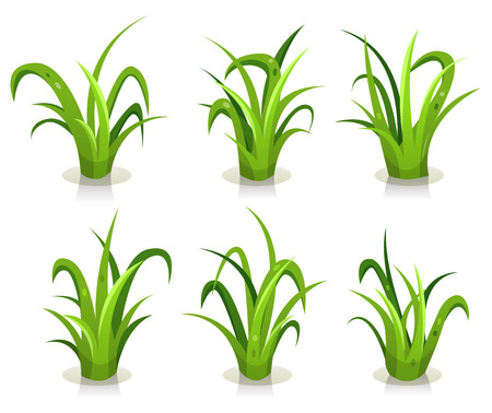 Illustration of a set of green leaves of grass design elements, for use to create nature landscape