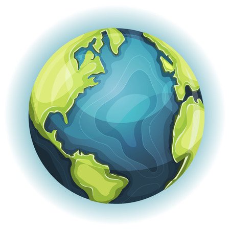 Illustration of a cartoon design earth planet globe icon with hand drawn schematic continent and ocean frontiers