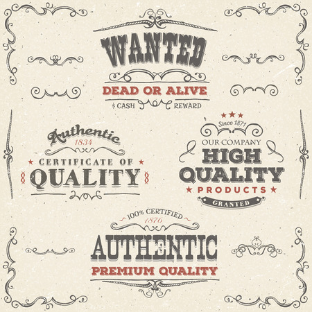 Illustration of a set of hand drawn quality labels, wanted placard, sketched banners, floral patterns, ribbons, and graphic design elements on vintage old paper background