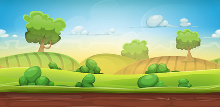 Illustration pour Illustration of a cartoon seamless green nature rural background with grass, pasture, meadows, fields and trees for ui game scenics - image libre de droit