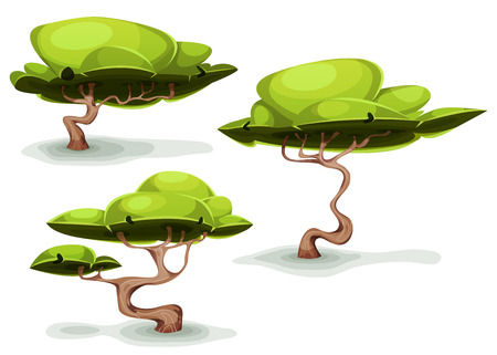 Illustration pour Illustration of a set of cartoon funny weird forest trees and bonsai, for fantasy scenics and game ui scenics - image libre de droit