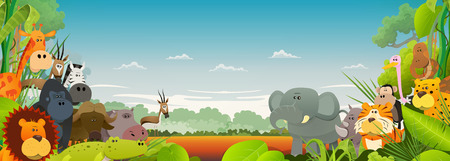 Illustration pour Illustration of cute various cartoon wild animals from african savannah, with lion, gorilla, elephant, giraffe, gazelle, gorilla monkey, hippo, ape and zebra with wide jungle background - image libre de droit