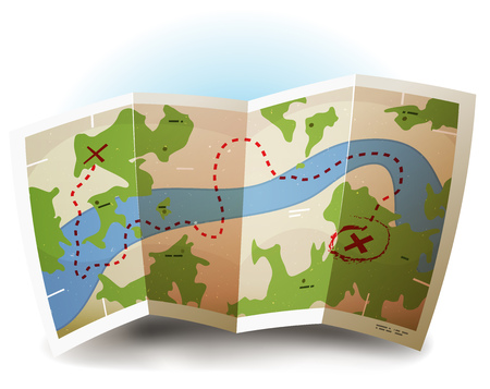 Illustration of a symbolized printed earth and treasure map icon with countries, river, legends, and grunge texture on paper sheet