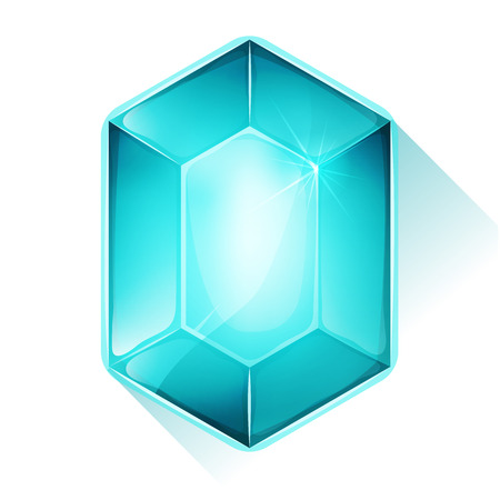 Illustration of a glossy and bright cartoon gemstone, blue colored, for jewel imagery and assets in game user interface