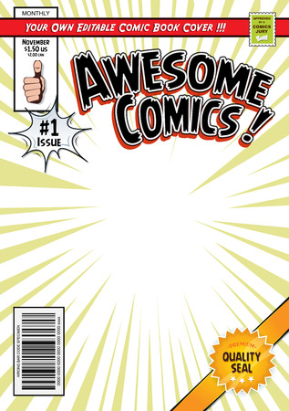 Illustration of a cartoon editable comic book cover template, with hero magazine style, titles and subtitles to customize, and wrong bar code and label