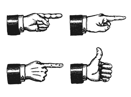 Illustration pour Illustration of a sketched set of businessman black hands with index finger pointing, and giving a thumbs up, isolated on white - image libre de droit