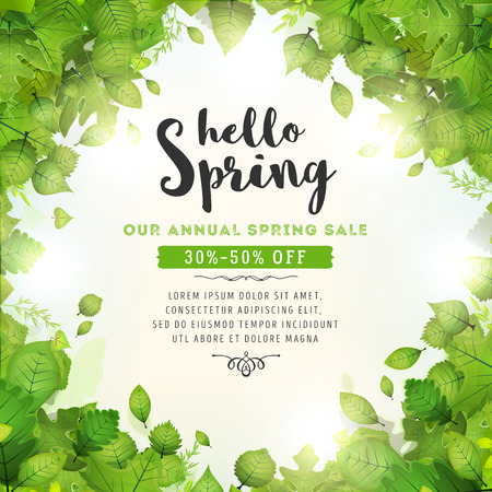 Illustration pour Illustration of a spring season background, with halo of sunlight, green leaves, from various plants and trees species and annual sale - image libre de droit