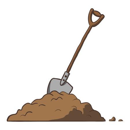 Shovel in dirt  Vector cartoon freehand illustration