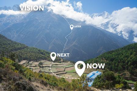 Photo pour Product vision roadmap concept. Now, next, later product management approach. Vision, mission, strategy. - image libre de droit