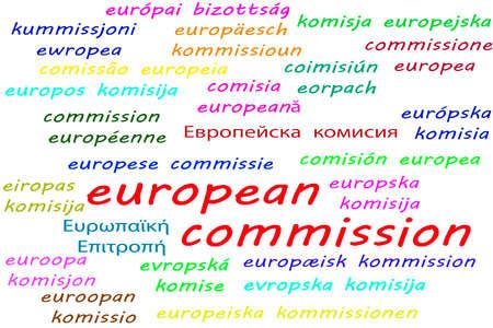 Photo pour Ways to say European Commission in all 24 official languages of the European Union - image libre de droit