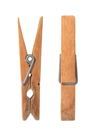 Old wooden clip on white background.