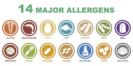 Ilustración de set of 14 major allergens icons on white background - Imagen libre de derechos