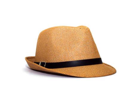 Foto de Pretty straw hat isolated on white background, Brown straw hat isolated on white background - Imagen libre de derechos