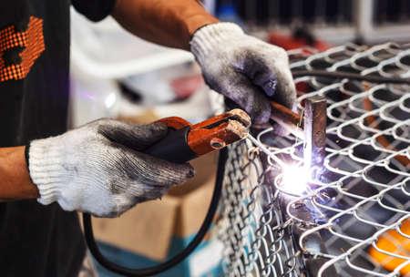 Photo for Welders welding metal, Welding work. - Royalty Free Image
