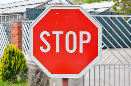 Closeup of a traffic stop sign by the road near an intersection