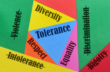 Photo pour Some words and their antonyms related to the love and the tolerance - image libre de droit