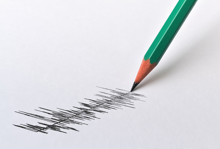 Photo for Graphical display of a physical magnitude and pencil on bright background - Royalty Free Image