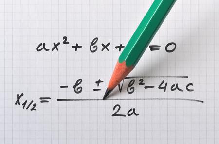 Photo pour General quadratic equation and the formula that gives the solution - image libre de droit