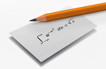 Photo pour Pencil and the Gauss famous mathematical equation on bright background - image libre de droit