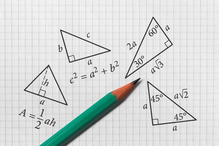 Photo pour Several triangles and their math properties written on bright background - image libre de droit