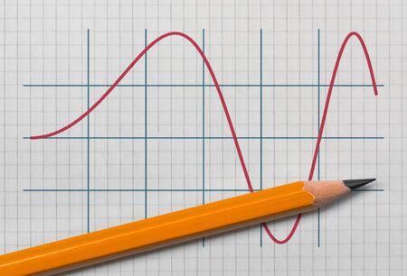 Photo pour Graph of a sine function and a pencil on bright background - image libre de droit