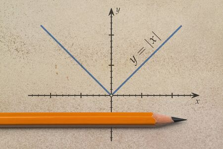 Photo pour Pencil and a graph of absolute value function on grunge background - image libre de droit