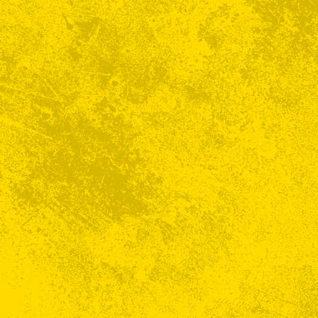 Illustration for Brushed yellow paint cover. Distress urban used texture. Grunge rough dirty background. Overlay aged grainy messy template. Renovate wall scratched backdrop. Empty aging design element. EPS10 vector - Royalty Free Image