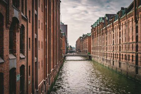 Panoramic view of famous historic Speicherstadt made of bricks