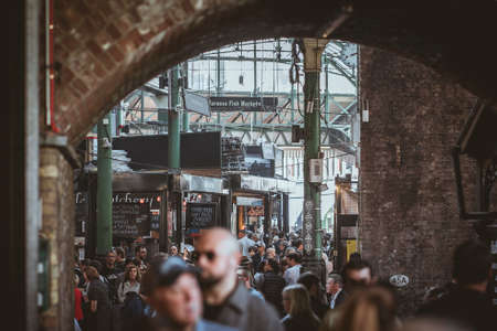 Crowded Borough Market in London